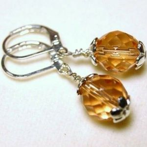 Jewelry - Peach Faceted Glass Silver Plated Earrings